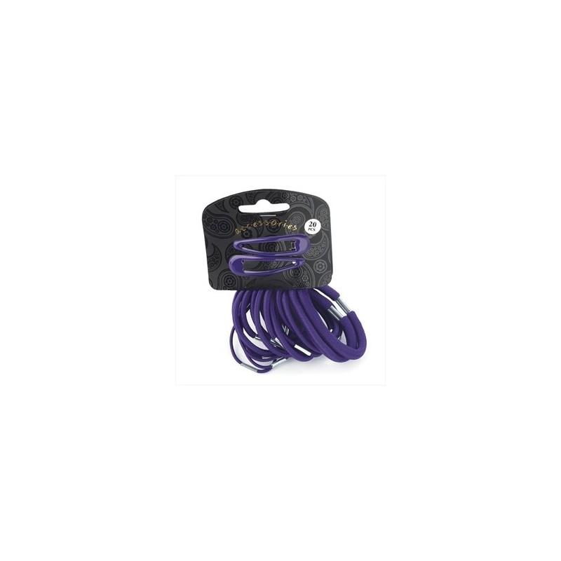 veinte piece Clip de color púrpura broche de pelo y set de elástico.