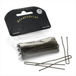 Hair Grip Slides - 36 piece 6.5cm brown double hair pin slides