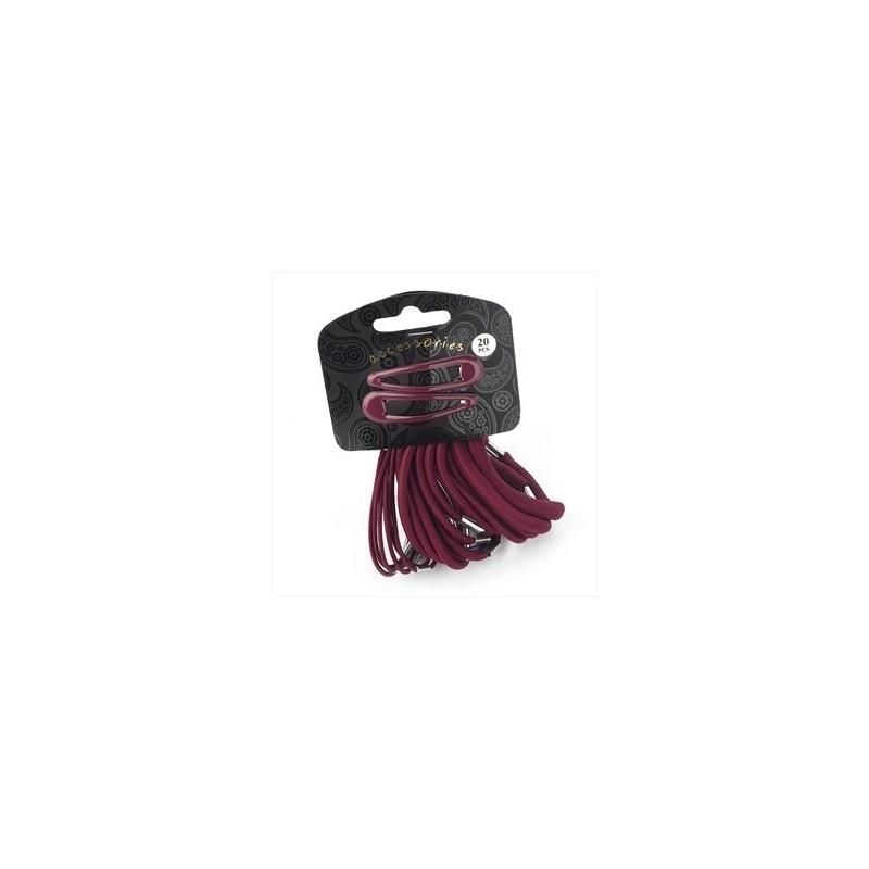 vingt pièce clip couleur bordeaux cheveux pression et ensemble élastique.