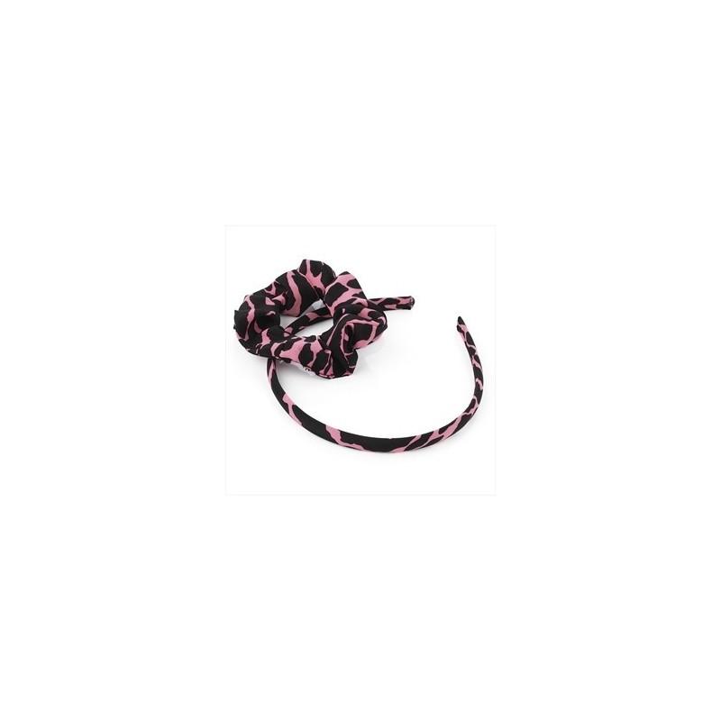 dos piezas de color rosa neón y color negro banda para la cabeza y accesorio para el pelo scrunchie conjunto.
