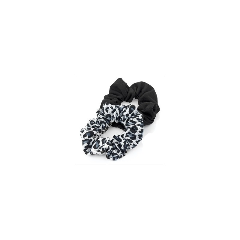 Two piece black tone animal print jersey scrunchie hair accessories set.