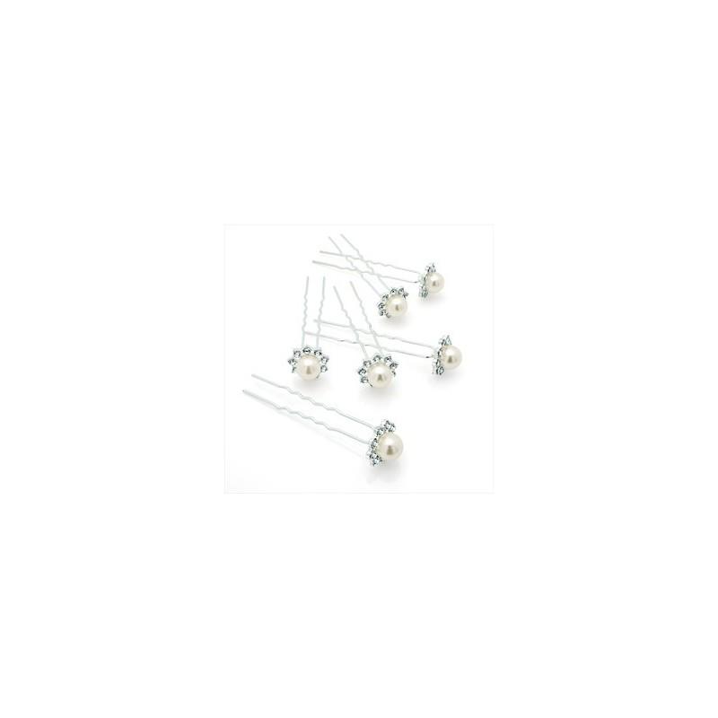 seis piezas de plata y color perla conjunto horquilla de cristal.