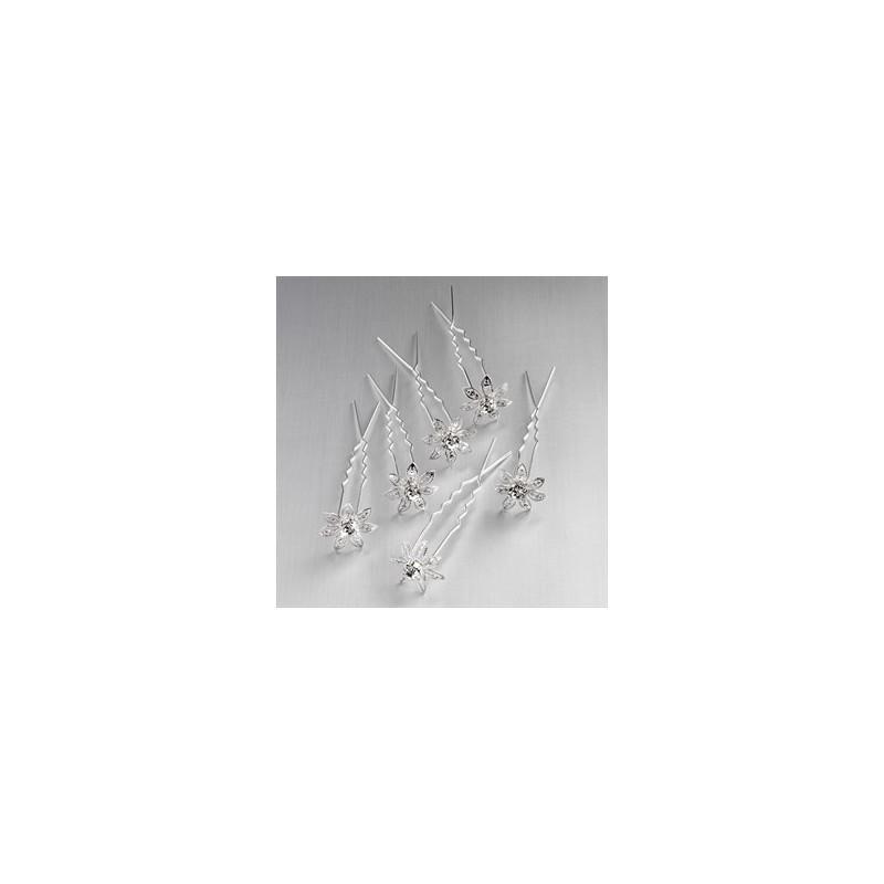 cor prata seis peças e conjunto pino de cabelo de cristal.