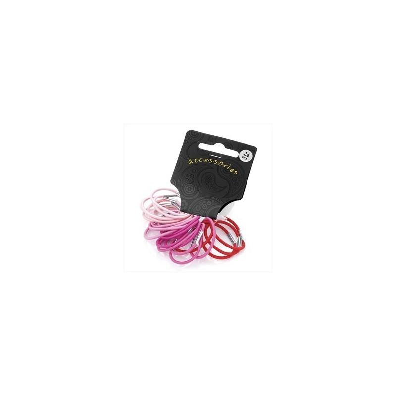 Twenty four piece pink tone colour mini hair elastic set.