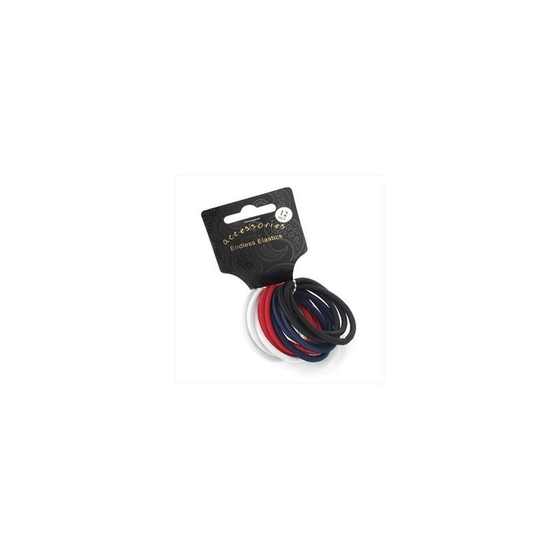 Twelve piece black, white, red & navy colour endless hair elastic set.