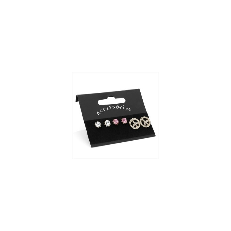 Three pairs gold colour crystal stud and peace symbol earring set.