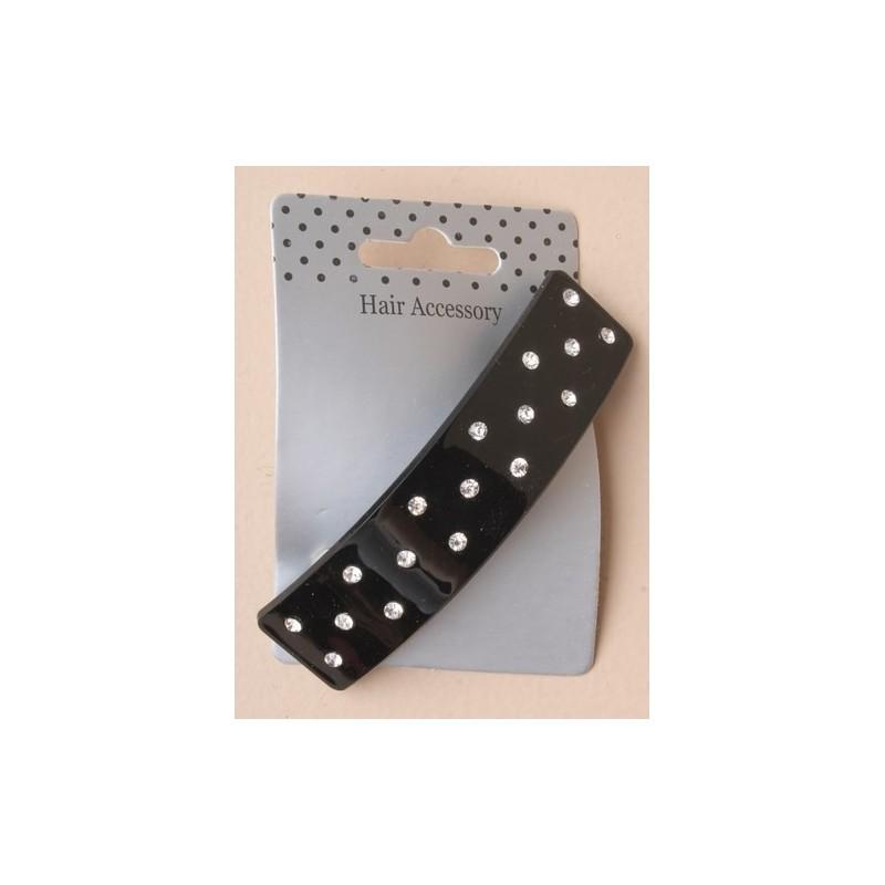 9cm rectángulo negro clip de pasador con tachuelas de cristal.