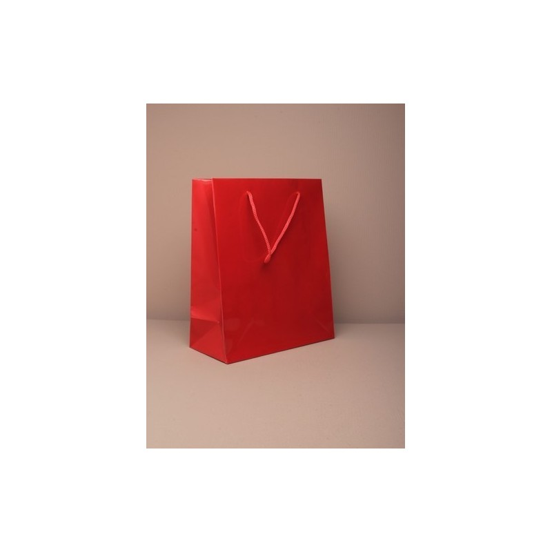 23x19x9cm tamaño. acabado brillante giftbag roja mediana con asa cordón. 158gsm grado de papel.