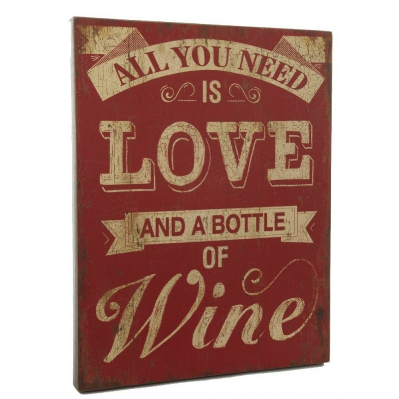 Wooden Sign - All You Need Is Love and a Bottle of Wine Large Wooden Sign