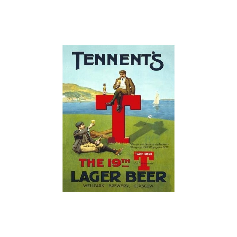 pub sinal 15x20cm - Tennents sinal parede lager