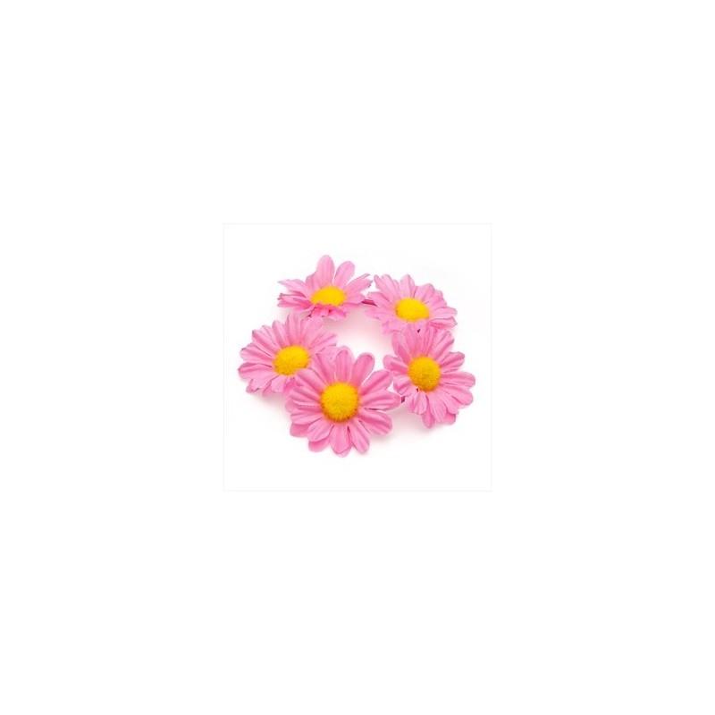 Pink colour flower design elasticated hair scrunchie.