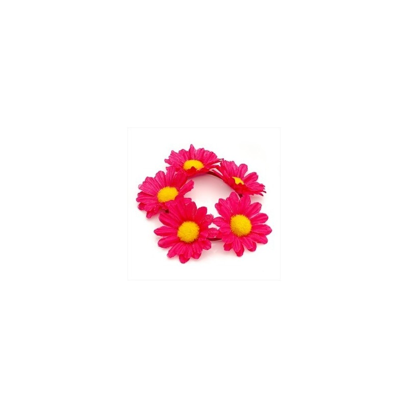 fúcsia projeto da flor cor-de-rosa elástico scrunchie cabelo.