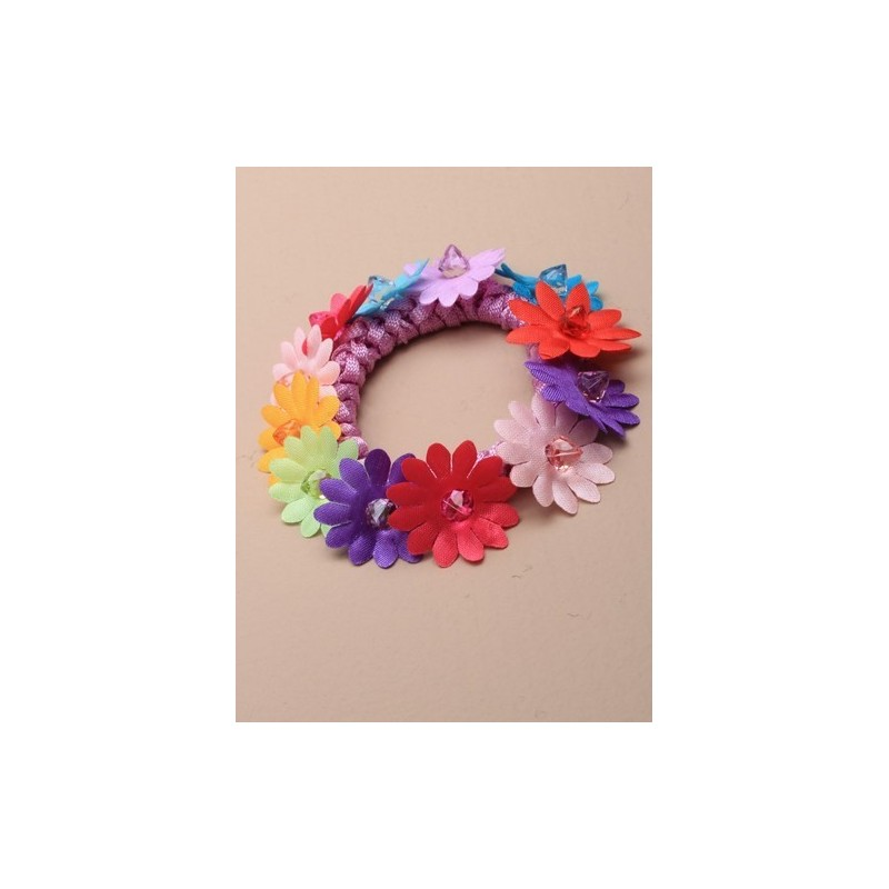 multicoloured fabric daisy twisted cord scrunchie with coloured bead centre. in an assortment of pink/li...