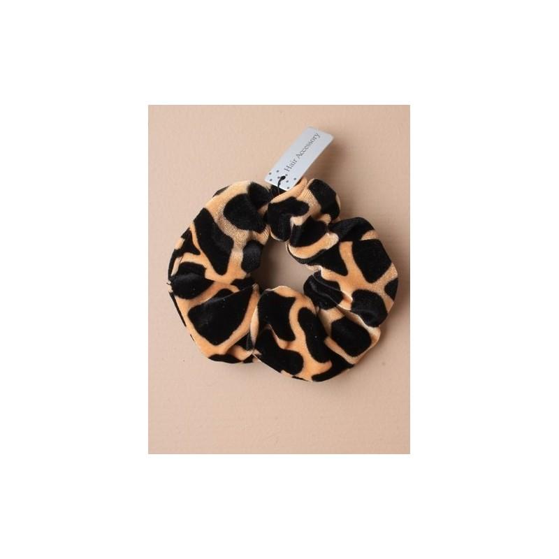 animal print tecido de veludo scrunchie. em cópias preto e branco / marrom e preto.