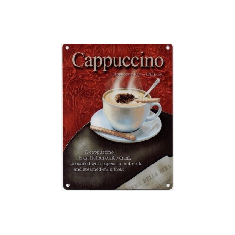 cappuccino sinal 15x20cm - sinal do metal café cappuccino nostálgico propaganda retro do vintage