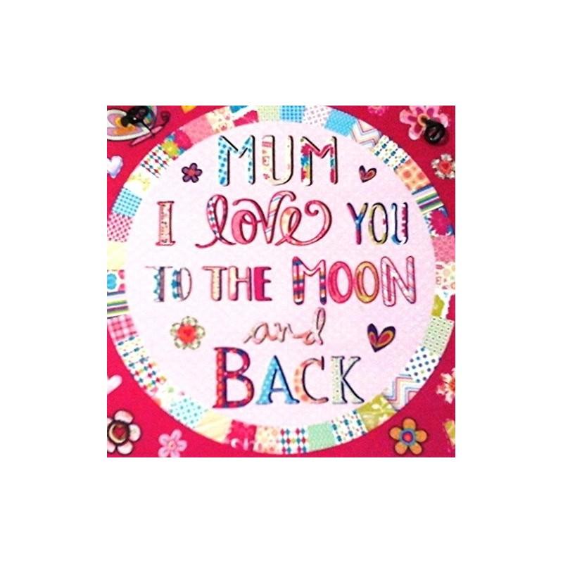 metal skilt 10x10cm - mor jeg elsker dig til månen og tilbage igen - metal skilt