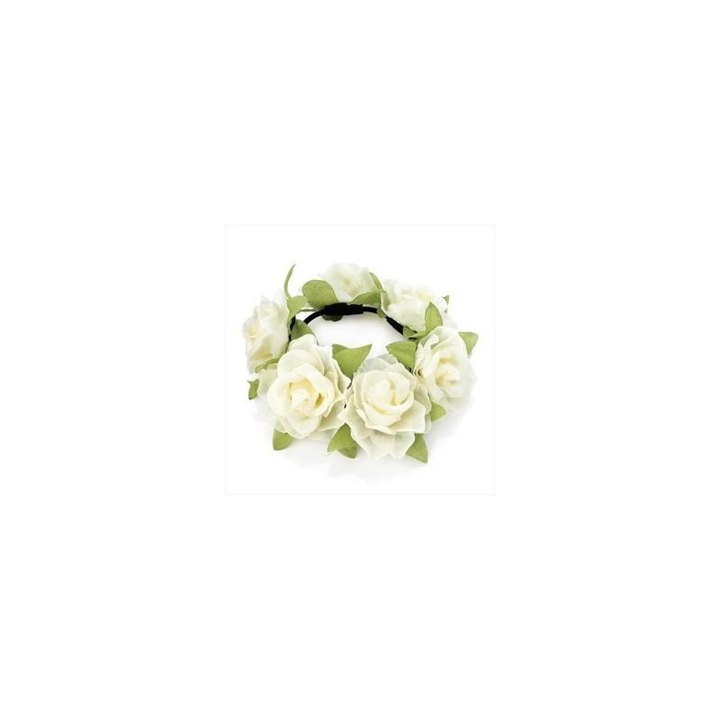 Cream colour elasticated flower design hair scrunchie.