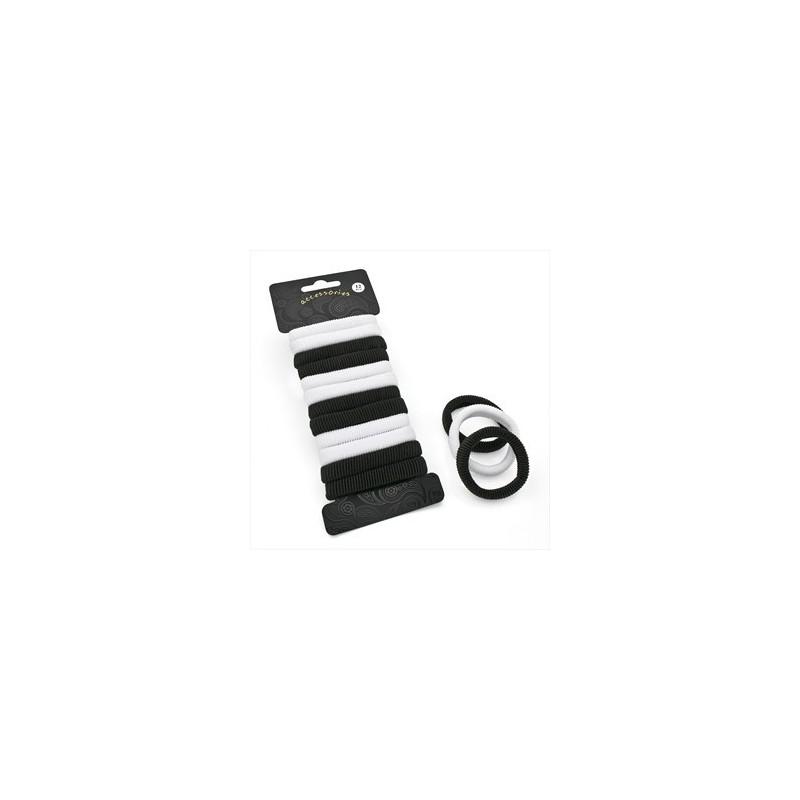 Twelve piece black and white elasticated hair ponio set.