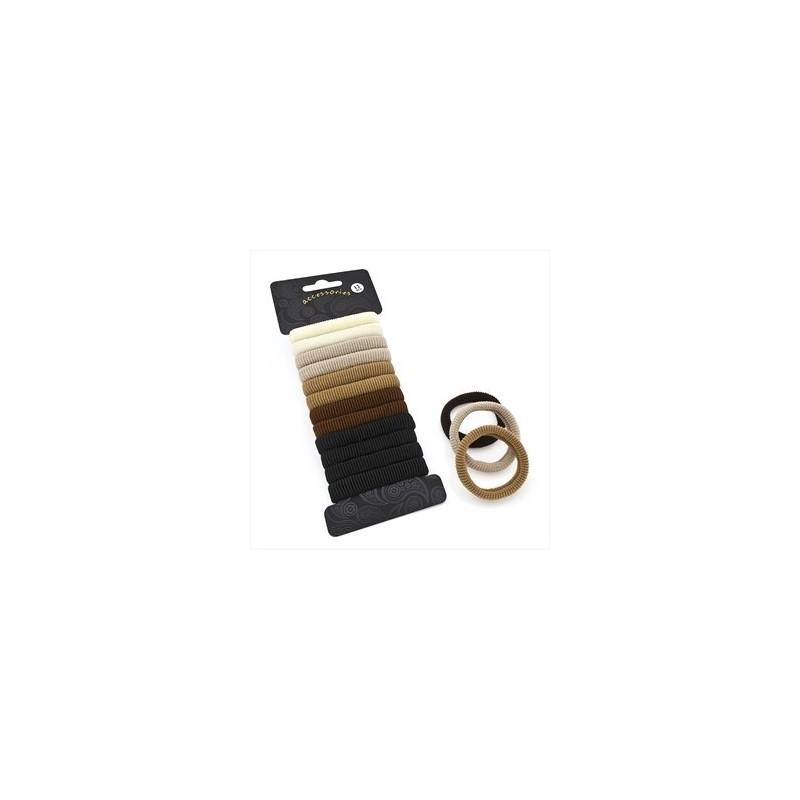Set doce pieza tono marrón Ponio pelo elástico.