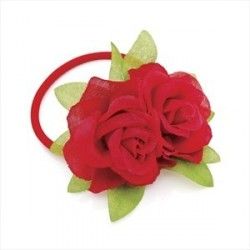 Hair Bobble Flower Hair Elastic - Red double flower hair...