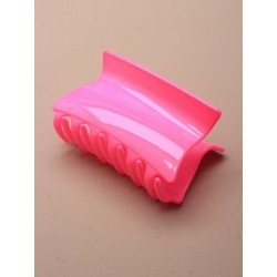 Hair Clamp - 8cm neon coloured wedge shaped plastic clamp in yellow/green/pink or orange.