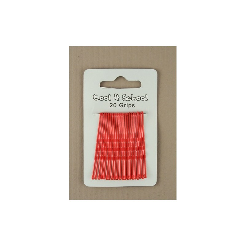 Kirby Hair Grips - 20 Red 40mm Hair Grip wavy hairpin slides