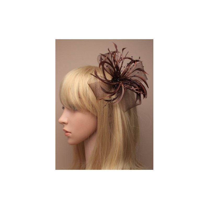 Fascinator Clip & Pin - Chocolate looped net and feather fascinator on a forked clip and brooch pin