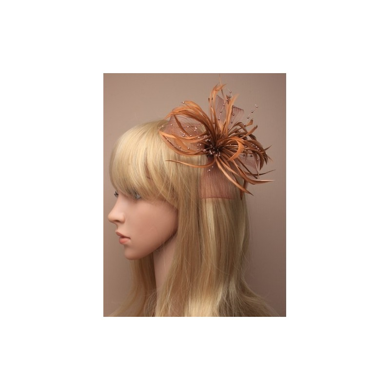 Fascinator Clip & Pin - Tan looped net and feather fascinator on a forked clip and brooch pin