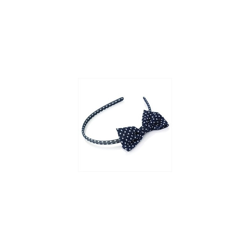 Aliceband - Navy and white polka dot bow headband aliceband