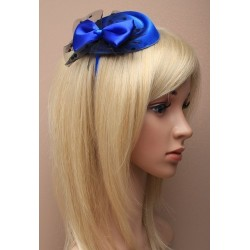 Fascinator Alice band - Royal blue pillbox fascinator with satin bow and spotted black net on a satin fabric headband