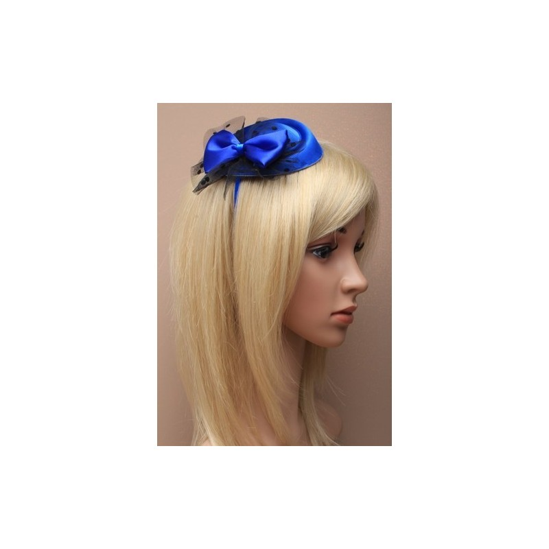 Fascinator Alieceband - Royal blue pillbox fascinator with satin bow and spotted black net on a satin fabric aliceband.