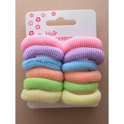 Hair Bobble Elastics - A set of 12 pastel knitted hair...