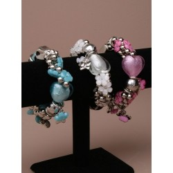 Hearts and daisies - stretch bracelet