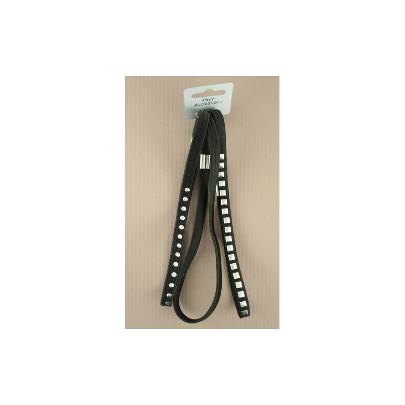 Hair Elastics - A set of 3 long black hair elastics with silver studs.