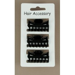 Hair Clamps - pack of 3 clamps 4cm black hair clamps