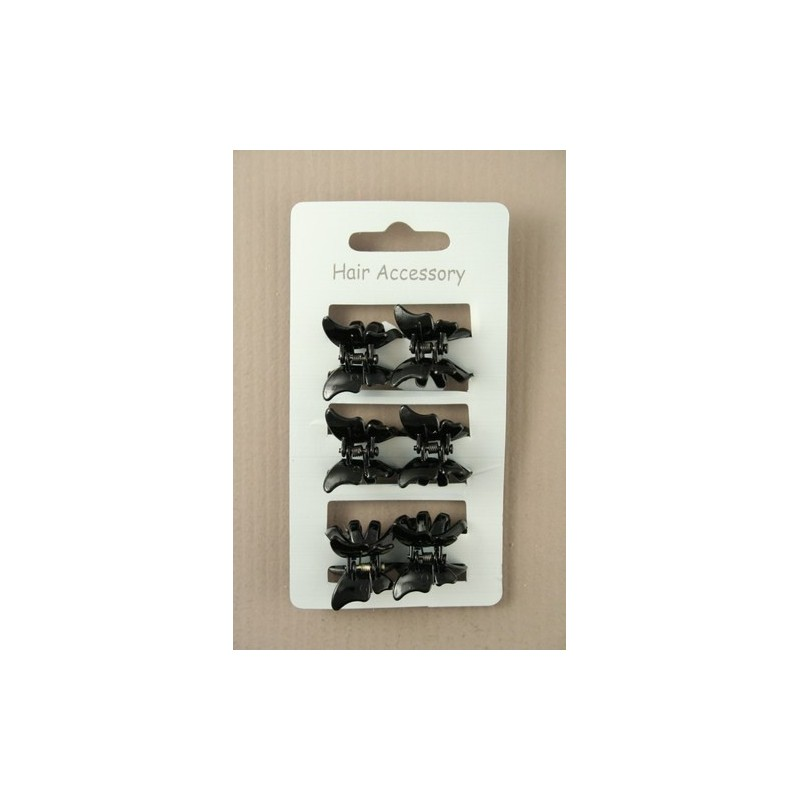 Hair Clamps - A set of 6 black butterfly mini hair clamps.