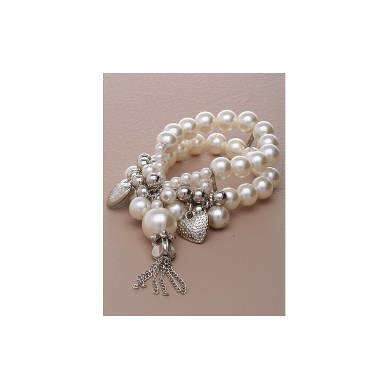 Pearl Charm Flexi-Bracelet with optional tassels