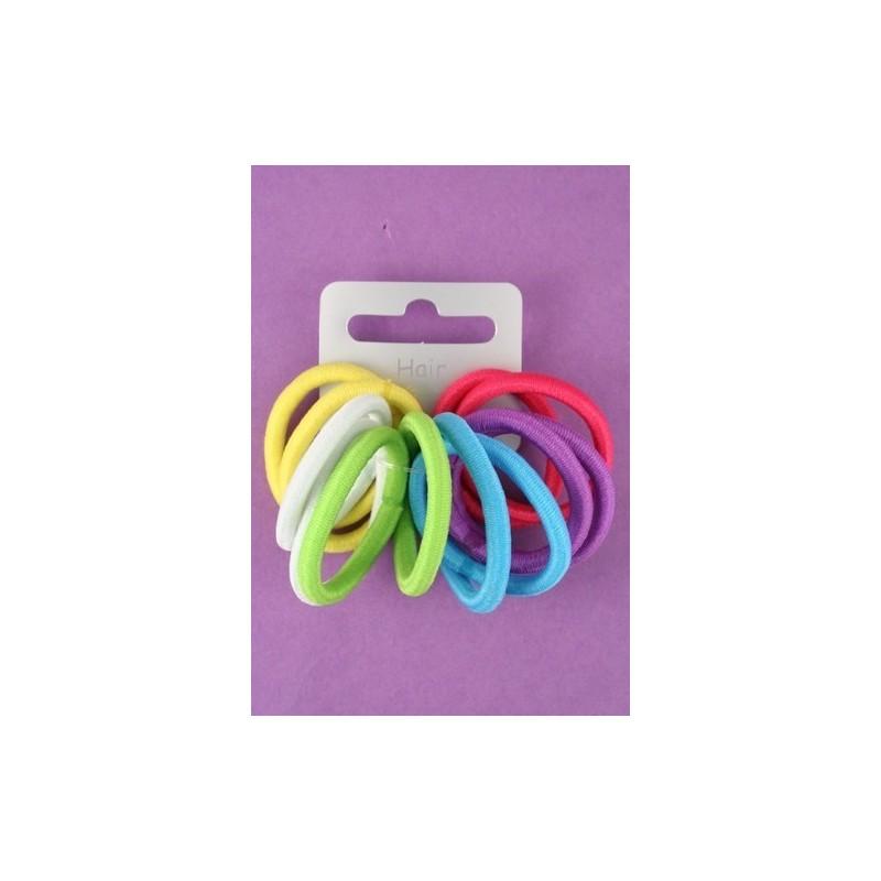 Hair Elastics - A set of 12 small bright coloured thick snag free endless hair elastics.