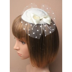 Fascinator Alice band - cream pillbox fascinator with satin bow and spotted cream net on a satin fabric headband