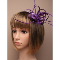 Fascinator Clip & Pin - purple coloured looped hessian net and feather fascinator on a beak clip with brooch pin.