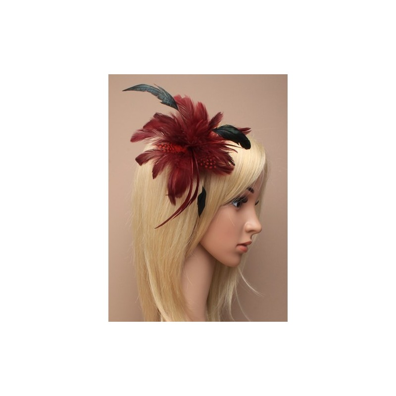 Fascinator Clip & Pin - Burgundy feather fascinator on a forked clip and brooch pin