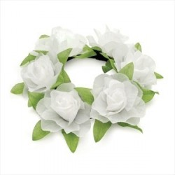 Scrunchie - White colour elasticated flower design hair scrunchie.