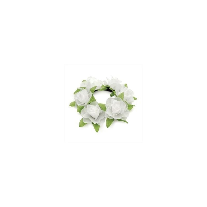 Scrunchie - White colour elasticated flower design hair scrunchie.