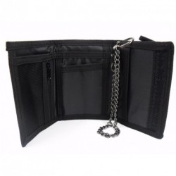 Trifold velcro sports wallet with security chain