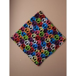 Bandanna - brightly coloured peace sign bandanna 55x55cm