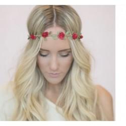 Mini Flower faux suede plaited elasticated Hairband Festive Halo Headband choice of 5 colours