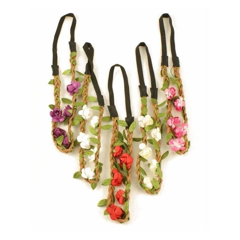 la mini flor de imitación de ante trenzado diadema elástica festivo halo de diadema opción de 5 colores
