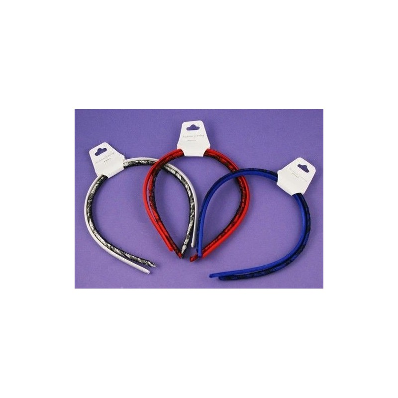 One Pair Slim Satin Headband Hairband 8mm Plain and with Lace in choice of 3 colours