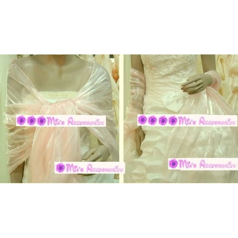 Pink Nude Large Organza ball wrap Shawl Stole Evening Scarves bridesmaids Dance
