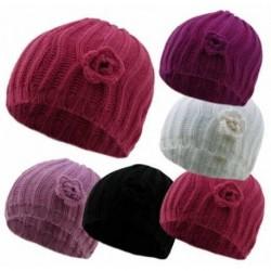 Beanie Hat - Ladies Chunky knit beanie hat - knit flower beanie